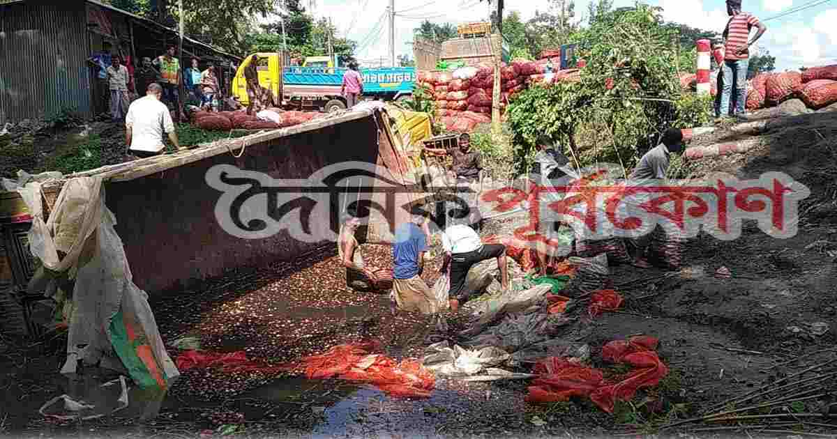 পেঁয়াজবোঝাই ট্রাক ডোবায়, ব্যবসায়ী আহত